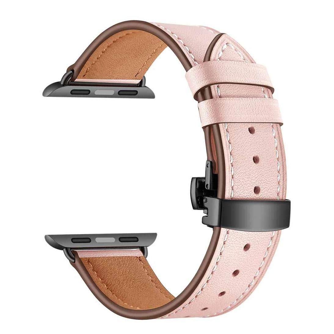 Wristband Watch Strap For IWatch Apple Watch 42mm,Saying Brand New Butterfly buckle Leather Wrist Watch Strap Band (Pink)