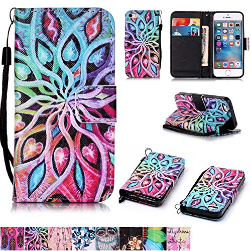 (iPhone 5/5S/SE Case,Firefish [Kickstand Feature][Drop Proof] Durable Leather Folio Style Wallet Case with Anti-scratch Protective Cover for Apple iPhone 5/5S/SE-Spread Flower)