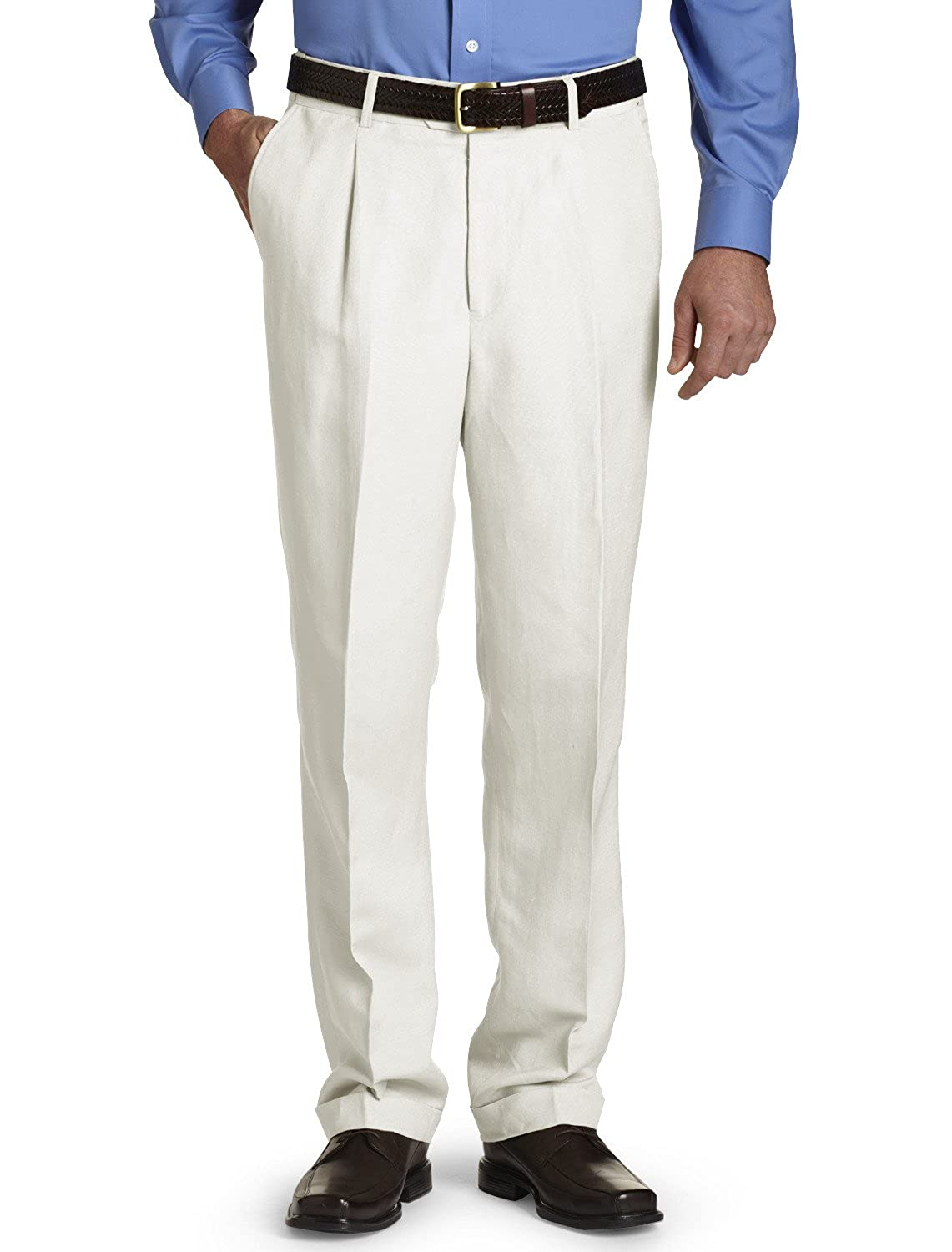 Oak Hill by DXL Big and Tall Waist-Relaxer Pleated Linen Suit Pants