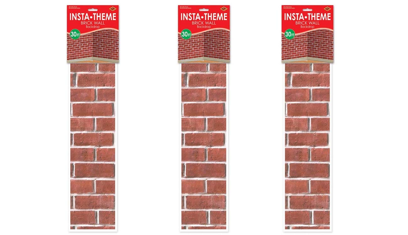 Brick Wall Backdrop Party Accessory (1 count) (1/Pkg) 3 pack