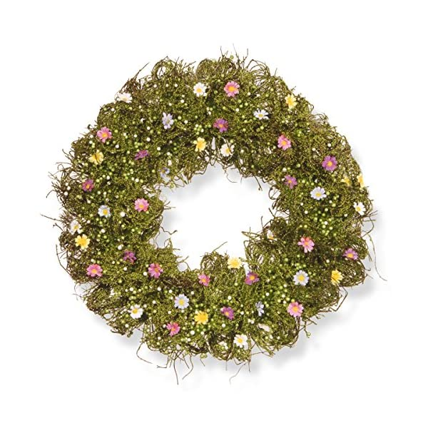 National Tree 19 Inch Spring Floral Wreath with Mixed Flowers, Greenery and Berries (RAS-W030129A)