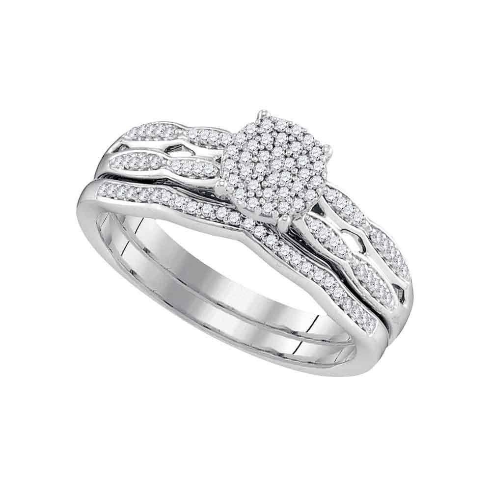 10kt White Gold Womens Round Diamond Cluster Bridal Wedding Engagement Ring Band Set 1/4 Cttw