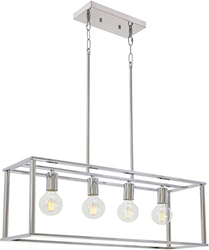 BONLICHT 4 Light Linear Chandeliers Chrome Modern Cage Kitchen Island Pendant Dining Room Light Fixture Hanging Farmhouse Ceiling Lamp