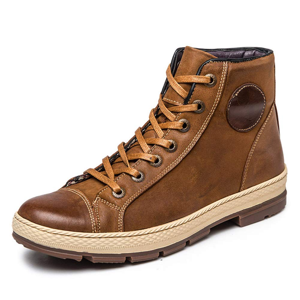 Ruiatoo Casual Boot for Men Leather Dress Lace up Ankle Boot Brown 39