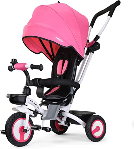 Fascol Tricycle Bébé Evolutif Pliable Poussette avec Canne pour