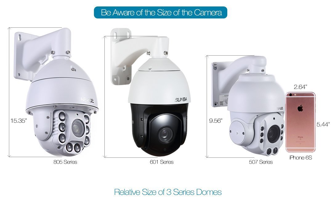 SUNBA 601-D20X IP PoE+ Cámara de Seguridad Exterior de Alta Velocidad H.265, Zoom Óptico 20x HD 1080P ONVIF con Audio y Visión Nocturna hasta 250m: ...