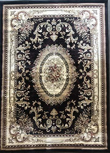 Traditional Oriental Aubusson Floral 330,000 Point Area Rug Persian Black Burgundy Green Design 602 (5 Feet 3 Inch X 7 Feet 2 Inch)