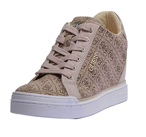 Per GuessFlowurs Brown Donna Sneaker Beige Con Zeppa wy8PNmOvn0