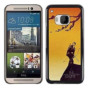 ROKK CASES / HTC One M9 / CATNISS & BOW - HUNGER / Delgado Negro Plástico caso cubierta Shell Armor Funda Case Cover