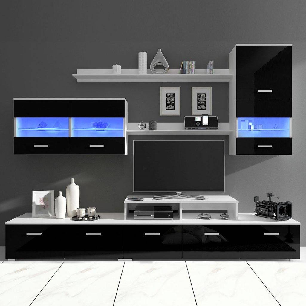 Festnight 7 Pi/èces Ensemble Meuble TV Design avec Eclairage LED Armoire Basse 250cm Haute Brillance