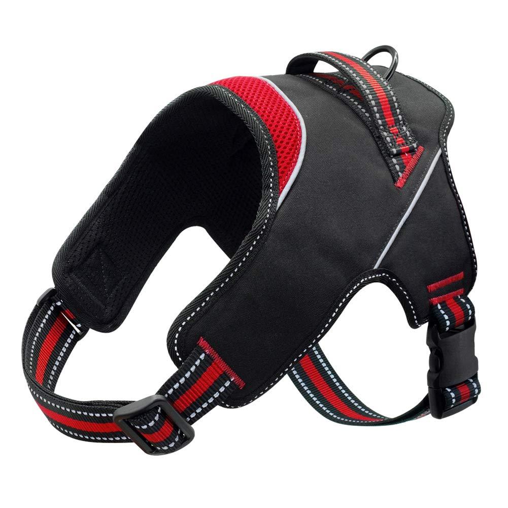 Kuntrona Mesh Nylon Dog Harness Reflective Pet Halter Harnesses Vest for Medium Large Dogs German Shepherd with Handle Walking Training Red M by Kuntrona