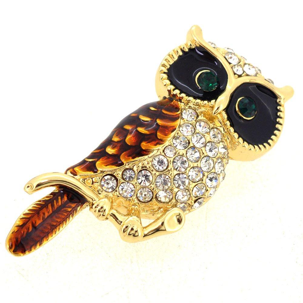 Fantasyard Golden Owl Enamel Bird Pin Brooch