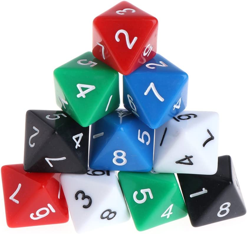 JimTw-UK 8 Sided Dice Acrylic Dice Number Dice Family Party Bar Board Game Dice DND Accessories 10pcs