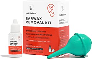 Lucid Wellness All Clear Earwax Removal Kit, 6.5% Carbamide Peroxide Drops and Rubber Bulb Syringe, Safely Dissolves and Flushes Excess/Impacted Build-Up, Gentle Formula, Fast Foaming Relief Action
