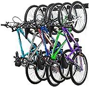 RaxGo Garage Bike Rack, Wall mounted Bicycle Storage Hanger, 6 Adjustable Hooks Universal for Indoor & Hom