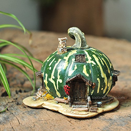 (Top Collection Miniature Fairy Garden and Terrarium Green Gourd Fairy House Statue)