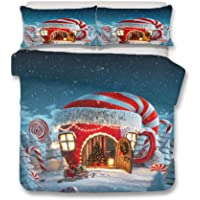 YYHQHE Christmas Decoration Bedding set 3D Digital Printing Santa Claus Bed Sheet Duvet Cover and Pillowcase Home Textiles