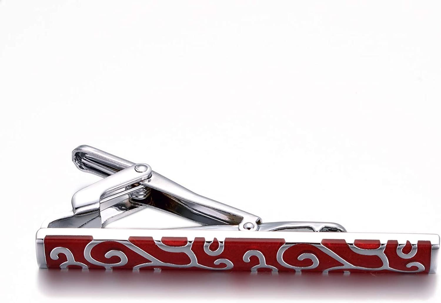 Yousfs Silver Tie Clip Red Abstract Mens Dragon Phoenix Grain Tie Clip Mens Formal Tie Clip Thin Noble Tie Clip Suitable for Important Places for Banquets and Dances