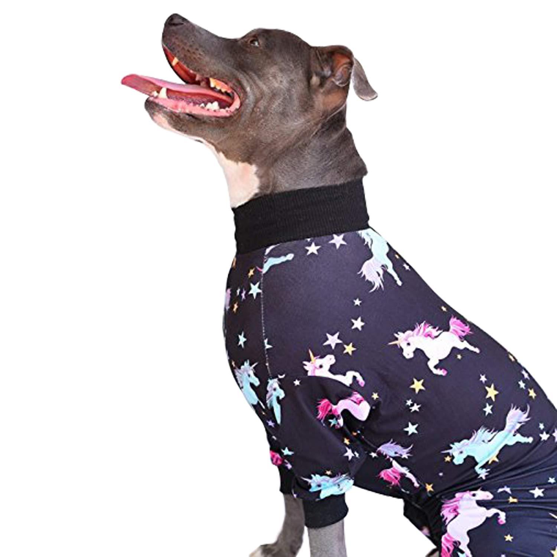 Tooth & Honey Big Dog Pajamas/Unicorn Dog Pajamas/Lightweight Pullover Pajamas/Full Coverage Dog pjs (Medium) Please Read Size Chart Before Ordering