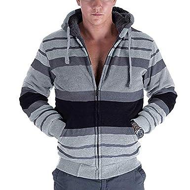 23741f3173155 Mens Hoodie Zip Up Stripe Sherpa Lined Casual Long Sleeve Sweatshirts  (Small