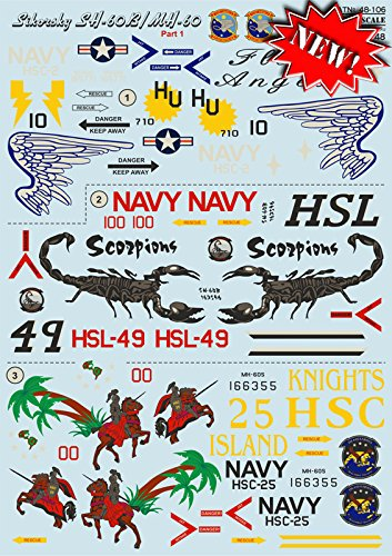 DECAL FOR AIRPLANE SIKORSKY SH-60B/MH-60 AIRCRAF 1/48 PRINT SCALE 48-106 ()