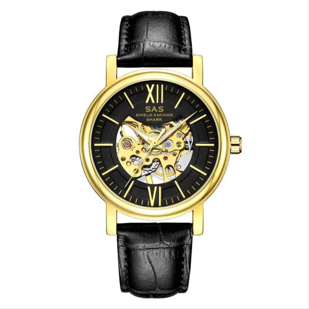 ZCFDQI Mirar Reloj Deportivo Hombres Vintage Caso Negro Banda De Cuero Escudo Ancla Tiburón Hollow Relojes Mecánicos Regalo para Relojes Masculinos