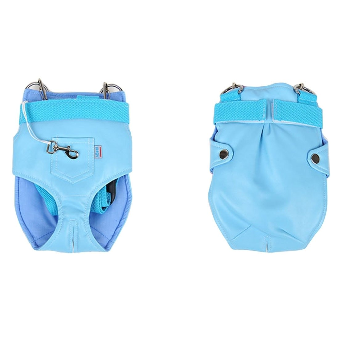 bluee XUJW-pet store, Pet Chest Backpack   Soft Leather Trouser Style Bag   Portable Pet Backpack for Dog and oher Pets Small , Size 2417cm ( color   bluee )