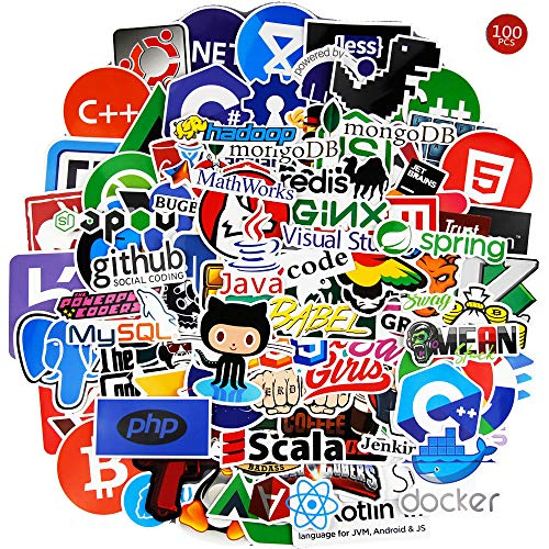 Programming Stickers for Laptop(108PCS)-Programming Stickers of Front-end dev,Back-end Languages Stickers for Software Developers, Engineers, Hackers, Programmers, Geeks, and Coders