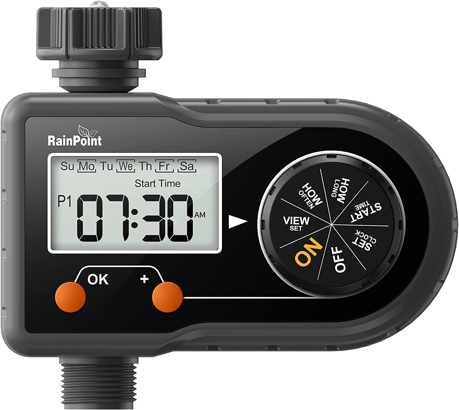RAINPOINT Sprinkler Timer, Hose Timer Programmable Water Timer Outdoor Irrigation Timer Up to 3 Separate Programs Per Day, 2.5'' LCD Screen, Safe Shutoff Valve, for Lawn Garden Watering, Pool Filling