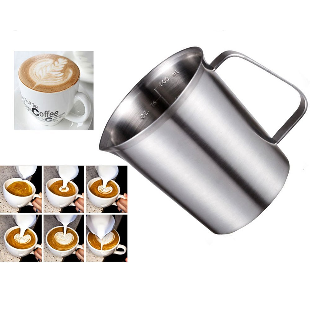 Sissiangle 18/10 Stainless Steel Measuring Cup,Frothing Pitcher with Marking with Handle for Milk Froth, Latte Art (32OZ/1 Liter)
