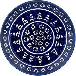 Blue Rose Polish Pottery Winter Nights Dessert Plate