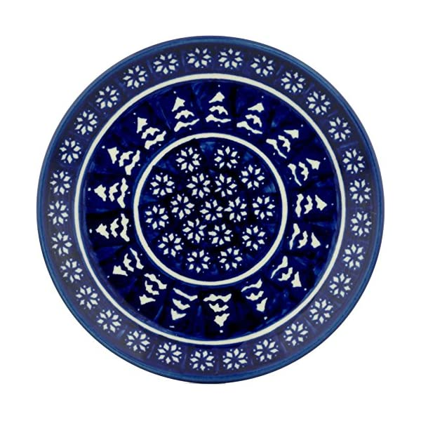 Blue Rose Polish Pottery Winter Nights Dessert Plate
