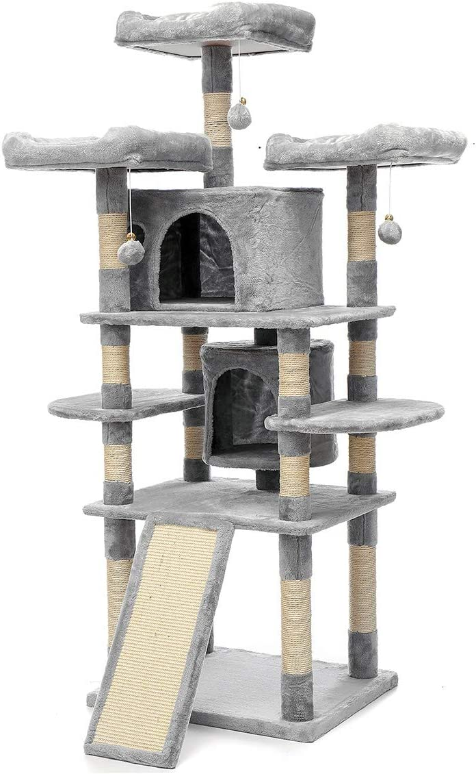 TOOCA Cat Tree Kitties Activity Tower with Siscal-Covered Scratching Posts, Perch, Condo, Basket, Plate Ladder, Toy Ball, Large Cat Baby Cat