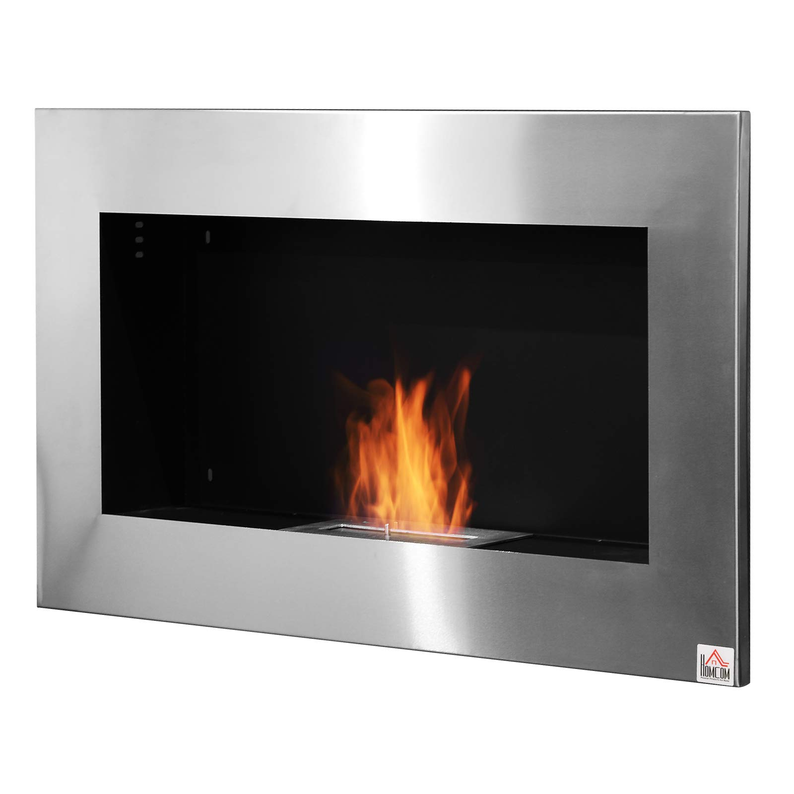 HOMCOM 35.5'' Contemporary Wall Mounted Ventless Indoor Bio Ethanol Fireplace - Stainless Steel by HOMCOM