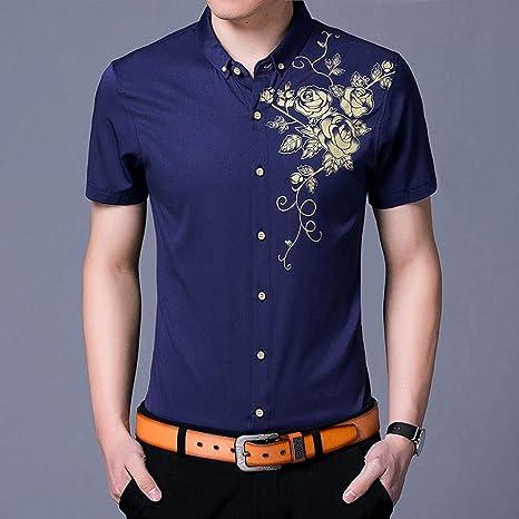 YAYLMKNA Camisa Camisa De Vestir para Hombre Camisas De Vestir Estampado De Flores Camisa con Botones Hombre Slim Fit Manga Larga, M: Amazon.es: Deportes y aire libre