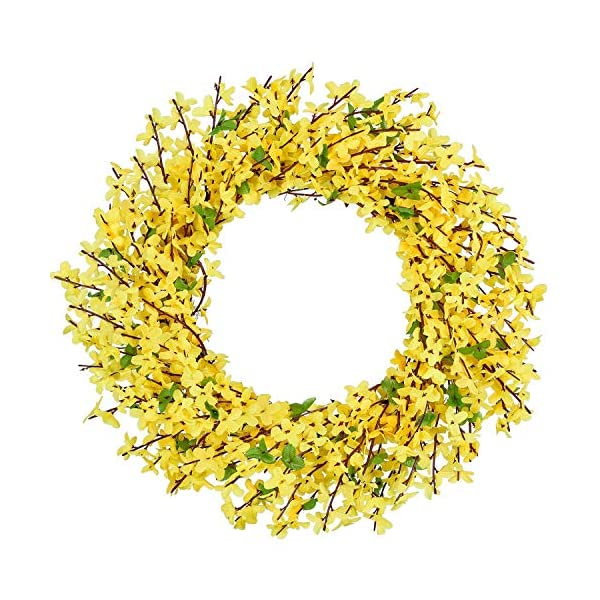 PARTYLAB Artificial 20″ Forsythia Wreath Floral Garland for Summer Fall & Spring Good for Porch Farmhouse Patio Garden Perfect Flower Decoration for Home Front Door Wall Decor Indoors & Outdoor