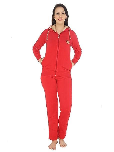 a0dec1066a1a Valentine Women s Fleece Nightwear Hoodie and Pyjama Combo Set (Red ...