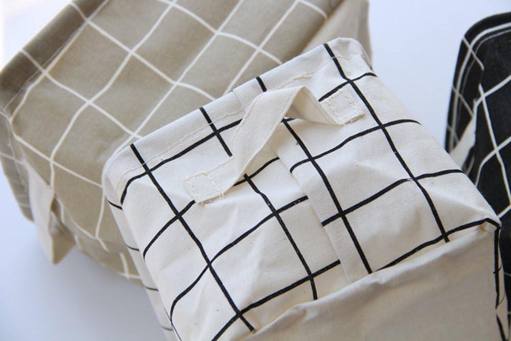 Oyfel Panier de Rangement Bo/îte de Stockage Pochette Coton Plaid Stripe Beige de Bureau 1 Pcs