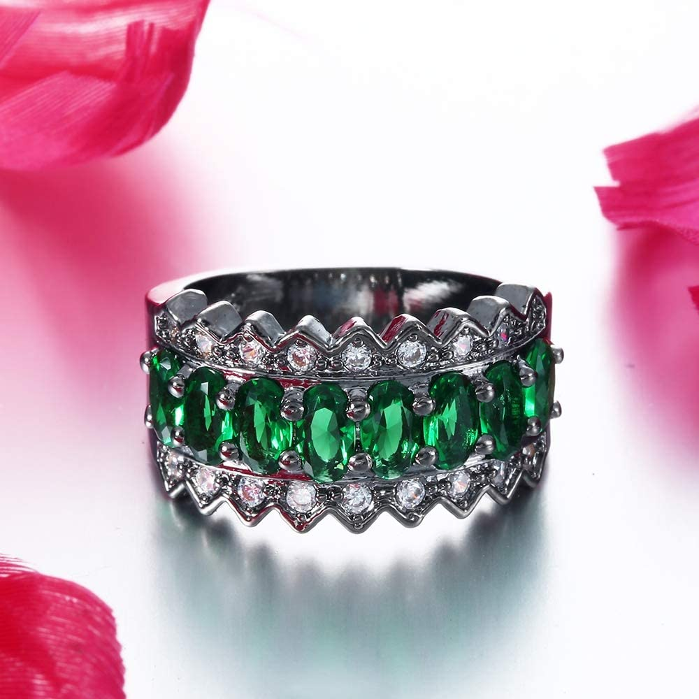 Xiang Ru 18K Stainless Steel Crown Green Cubic Zirconia Anniversary Party Ring