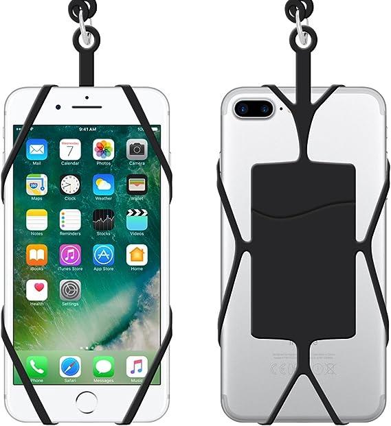 Téléphone portable Lanière Coque avec emplacement pour carte d'identité, Ihuixinhe 2 pcs Coque Smartphone en silicone support avec Sling Lanière ...