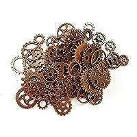 Aoyoho 100 gramos de metal envejecido de cobre antiguo esqueleto Steampunk engranajes encantos colgante reloj reloj engranaje de la rueda para hacer artesanía, joyería que hace accesorio (cobre)