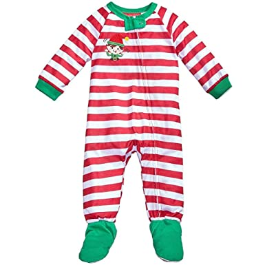 1bf25a9f2 Amazon.com  Family Pajamas Baby s 1-Pc Elfing Around Footed Pajamas ...