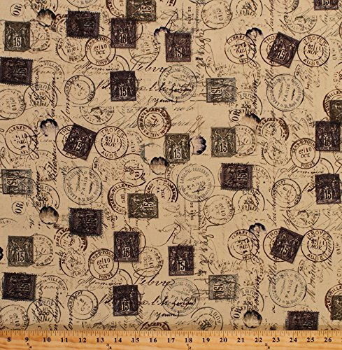 Cotton Tim Holtz Eclectic Elements Meter Marks Stamps Postage Mail Vintage Antiques French France Paris Cotton Fabric Print by the Yard D578.27