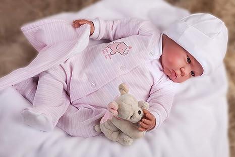 Bambole Antonio Juan Bambola Reborn 55 cm Pigiama Rosa con Coperta
