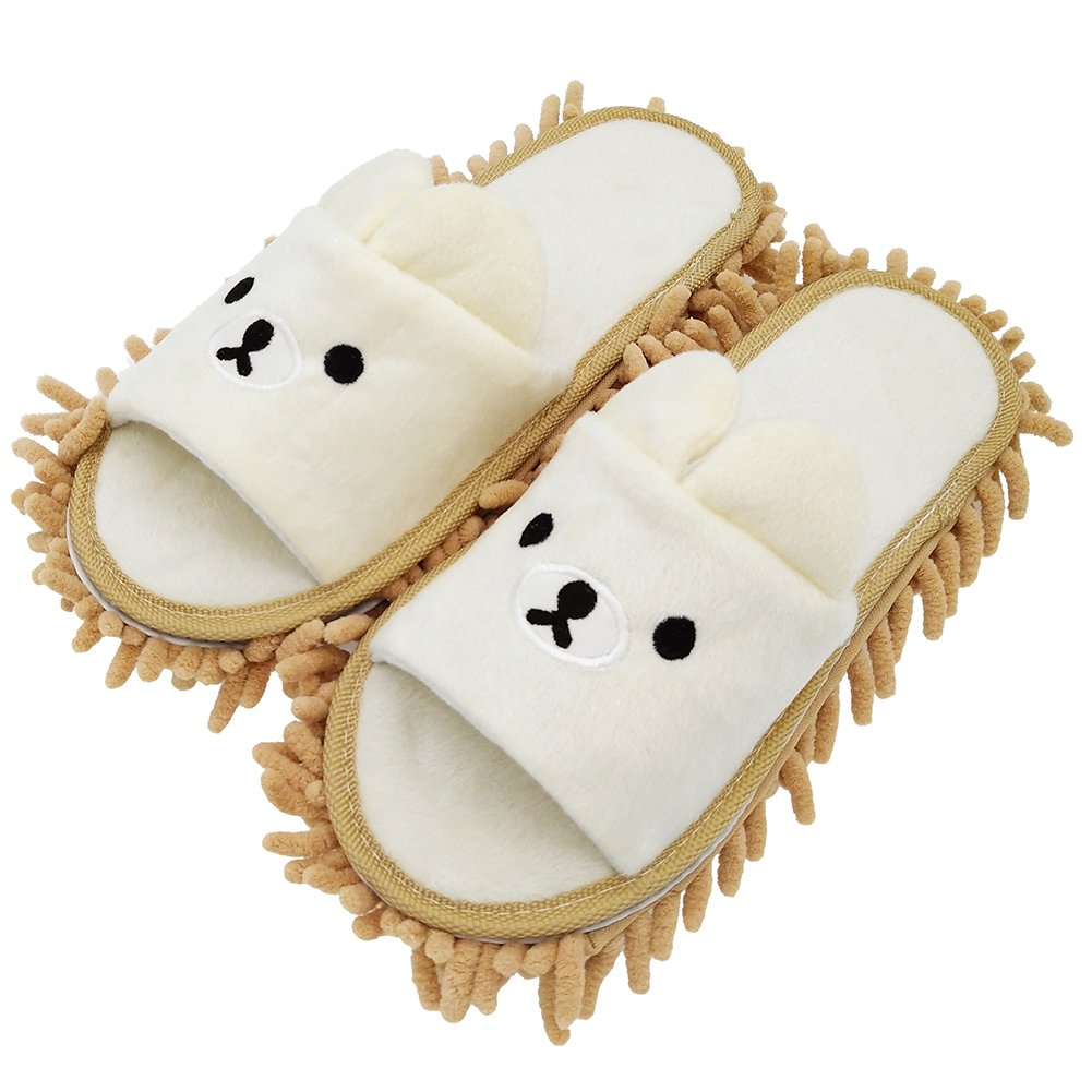 """Selric [Bear Image] Super Chenille Microfiber Washable Mop Slippers Shoes for Women, Floor Dust Dirt Hair Cleaner, Multi-sizes & Multi-Colors Available 9 7/9""""[Size:5.5-8.5.]"""