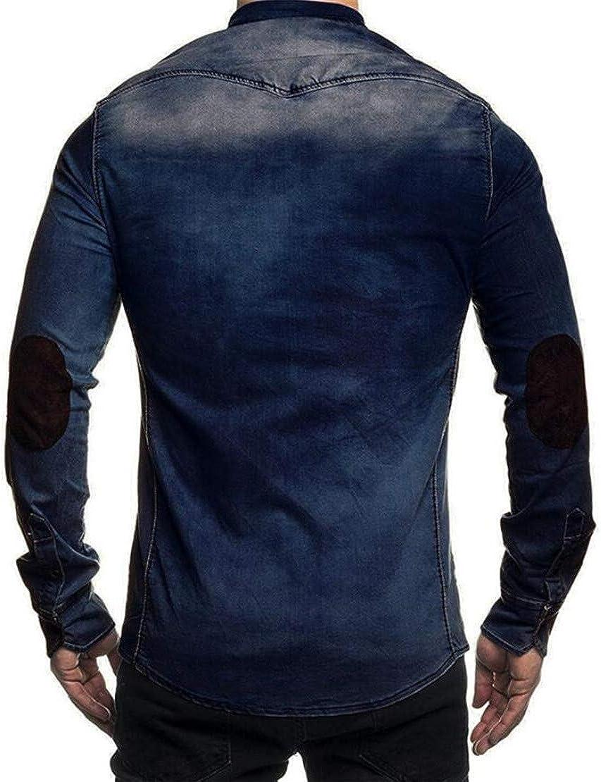 Spirio Mens Faux Suede Basic Denim Long Sleeve Button Down Jeans Shirts