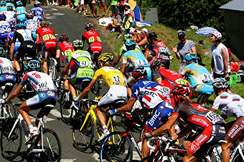 Home Comforts Canvas Print Yellow Jersey Polka Dot Jersey Tour De France Vivid Imagery Stretched Canvas 32 x 24