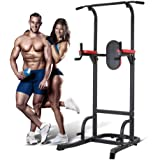 Multifunction Power Tower Dip Station with Bench Adjustable Height for Home Gym Strength Training, Pull Up Push Up Station Sit Up Station Vertical Knee Raise and Chin-up Station
