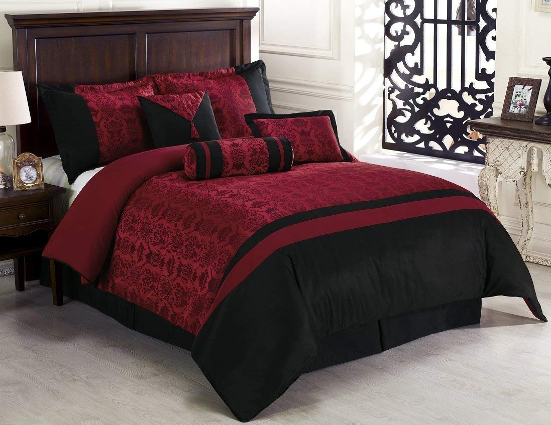 Chezmoi Collection Dynasty Jacquard 7-Piece Comforter Set