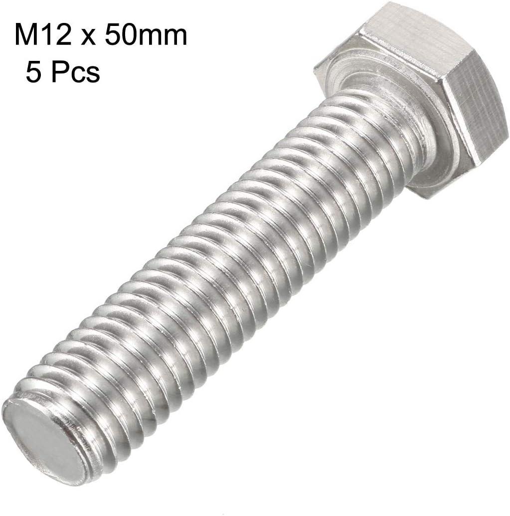 Filetage M12 50mm tête Hex acier inoxydable 304 Vis fixation vis Gauche